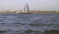Sicht von See kommend auf den geplanten Sportboothafen - Planvariante
